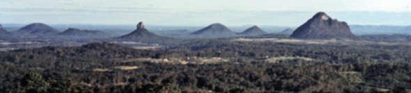 Part of the Glass House Mountains district looking South-West from the Western summit of Mount Coochin
